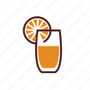 breakfast, drink, glass, juice, orange, slice icon