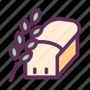 bakery, bread, bread slice, breakfast, food, wheat bread icon