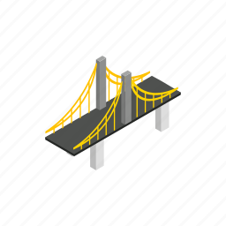 architecture, bridge, cable, isometric, steel, suspension, water icon