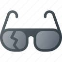 broken, sunglasses icon