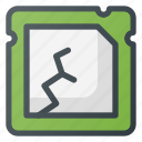 broken, crushed, processor icon