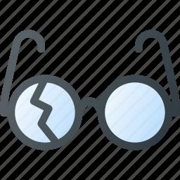 broken, crushed, fragile, glasses icon