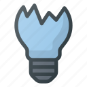 broken, crushed, fragile, lightbulb icon