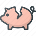 bank, broken, crushed, fragile, piggy icon