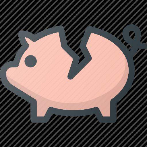 bank, broken, crushed, fragile, piggy icon