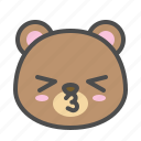 avatar, bear, cute, face, kiss icon