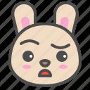 animal, avatar, bunny, cute, doubt, emoji, rabbit icon