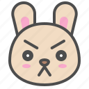 cute, avatar, bunny, rabbit, serious, emoji, animal icon
