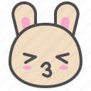 cute, avatar, bunny, rabbit, emoji, kiss, animal icon