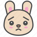 cute, avatar, bunny, worried, rabbit, emoji, animal icon