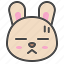 cute, avatar, bunny, rabbit, emoji, animal, bored icon