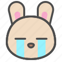 cry, cute, avatar, bunny, rabbit, emoji, animal icon