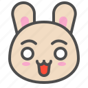 cute, emoji, surprise, bunny, rabbit, avatar, animal icon