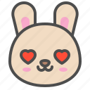 cute, avatar, bunny, rabbit, emoji, love, animal icon