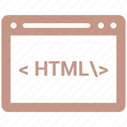 browser, end, front, html, line icon