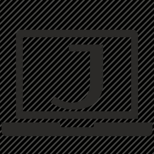 j, key, latin, letter, notebook icon