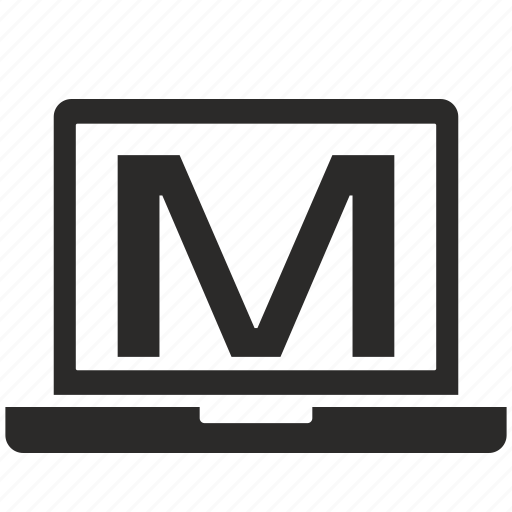 key, latin, letter, m, notebook icon