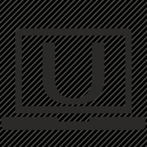 key, latin, letter, notebook, u icon