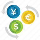currency exchange, foreign exchange, international currency, money converter, money flow icon