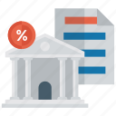 bank, bank payment, bank report, financial building, government building icon