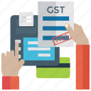 gst, sale tax, sales tax payment, tax document, tax paid receipt icon