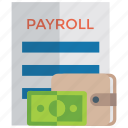 bank statement, employee roll, paycheck, payroll, payroll report icon