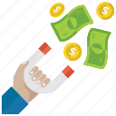 attracting investment, cash attraction, financial attraction, money attraction, wealth attraction icon