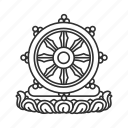 dharma, ship's wheel, wheel, wheel of dharma icon