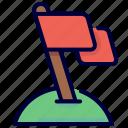 achievement, business, flag, goal, mission, mountains, point icon