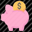 bank, coin, finance, money, pig, saving icon