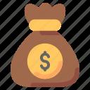 bag, dollar, money, moneysack, sack