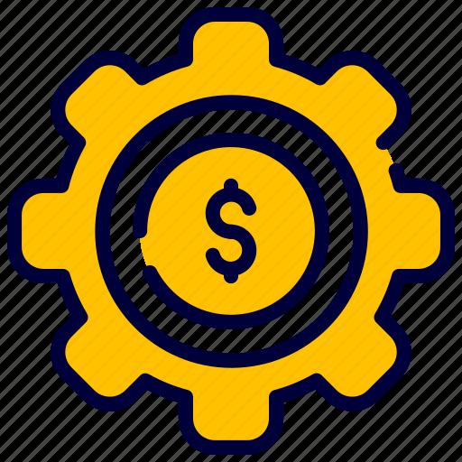 Business, dollar, finance, gear, manage, money icon - Download on Iconfinder