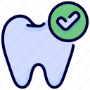 checked, checkmark, dental, finished, successful, tooth icon
