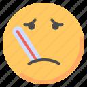 emoji, emoticon, fever, sick, temperature, thermomoter