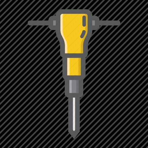 build, construction, drill, hammer, jackhammer, pneumatic, repair icon