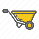 agriculture, barrow, build, carry, cart, garden, wheel icon