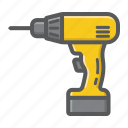 build, construction, drill, electric, repair, screwdriver, tool icon