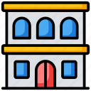 arcade, building front, condominium, school, university icon