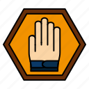 hand, sign, stop, traffic, warning icon