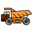 construction, trailer, transport, truck