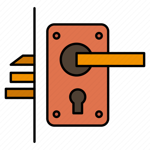 door, handle, home, keyhole, lock icon