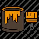 brush, bucket, paint, painting