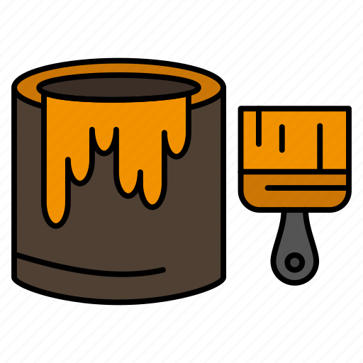 Brush, bucket, paint, painting icon - Download on Iconfinder