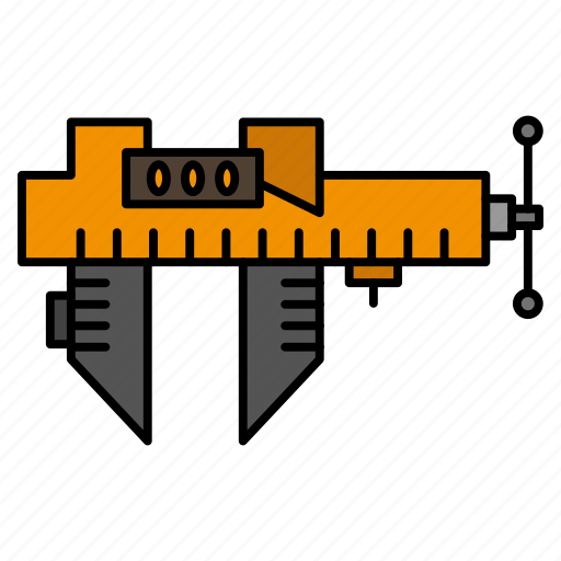 calipers, measure, micrometer, repair, scale icon