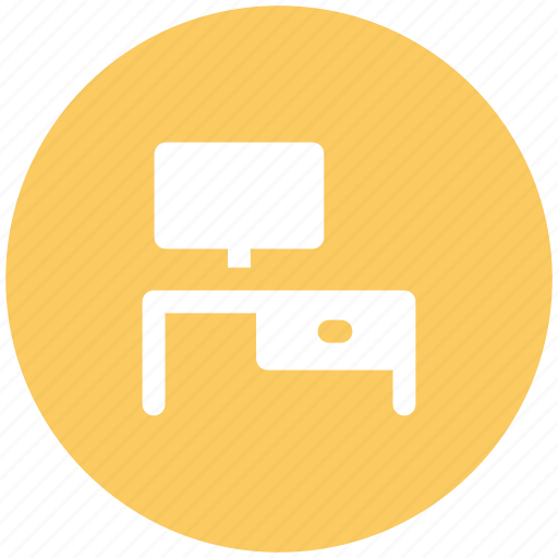 computer, computer desk, computer table, office desk, workstation icon
