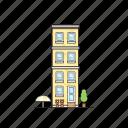 umbrella, office, condo, building, flower, apartment, tree