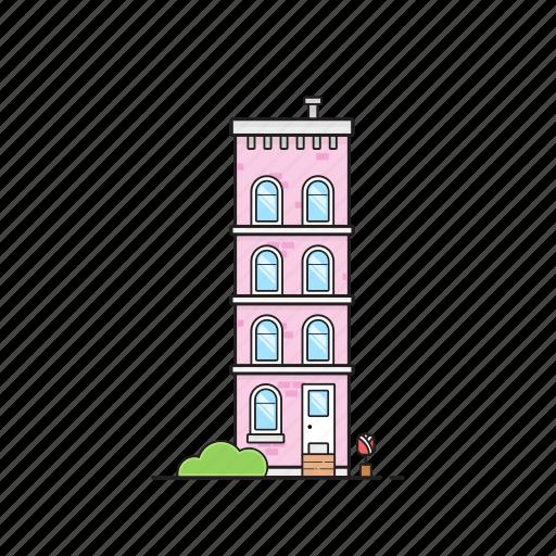 apartment, building, condo, office, tulip icon