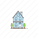 building, home, house, pot, residence, tree icon
