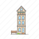 apartment, bench, building, condo, residence, suite icon