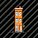 apartment, building, condo, fire hydrant, street lamp icon